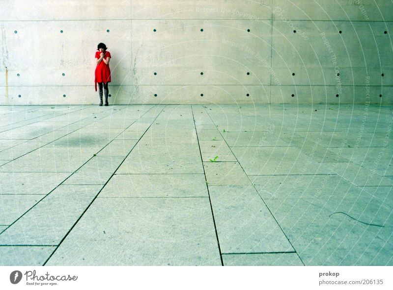 Urban escapades. Analysis. Lifestyle Human being Young woman Youth (Young adults) Woman Adults Dress Freeze Stand Sadness Longing Loneliness Threat Emotions
