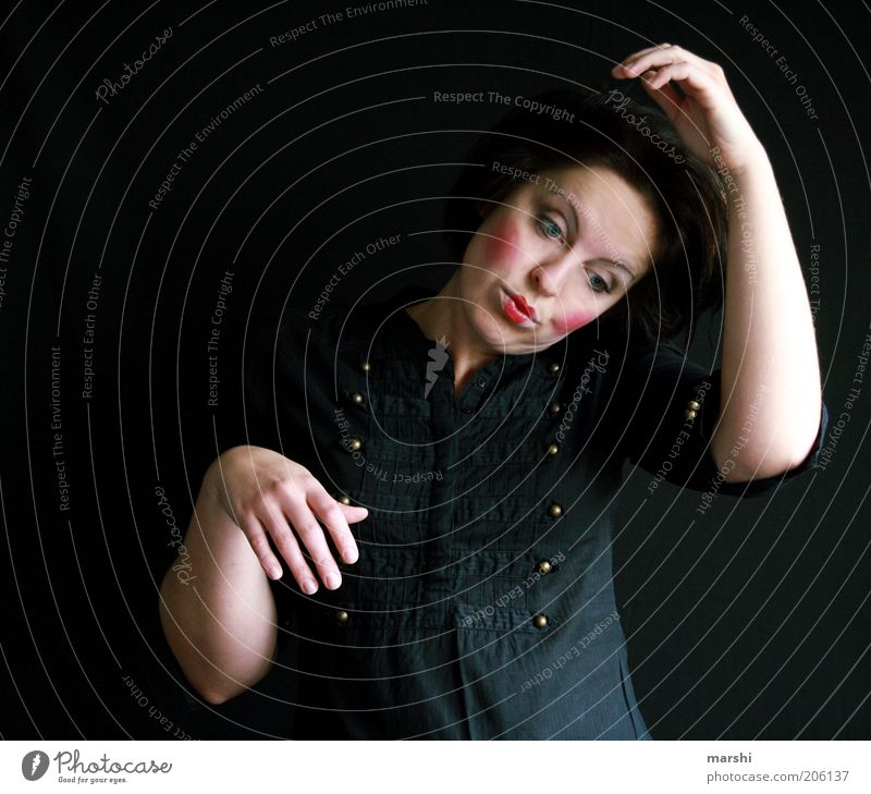 Woman Human being Red Black Dark Feminine Emotions Moody Art Adults Arm Crazy Posture Leisure and hobbies Shirt Stage