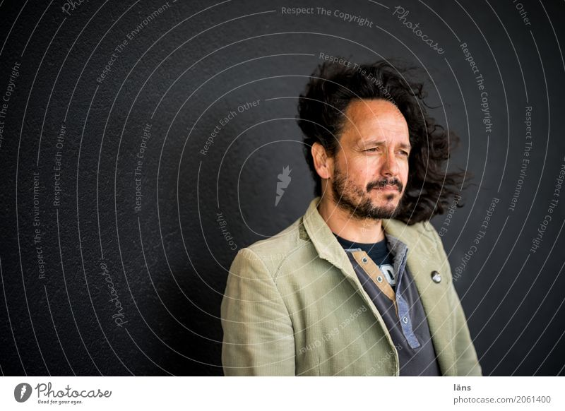 AST 10 l upright Hair and hairstyles Human being Masculine Man Adults Life Wall (barrier) Wall (building) Jacket Black-haired Long-haired Observe Stand Natural