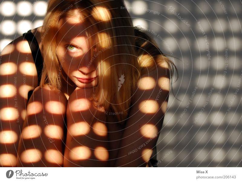 Human being Dark Feminine Dream Blonde Sit Point Meditative Evil Aggravation Long-haired Knee Venetian blinds Pattern Morning Light