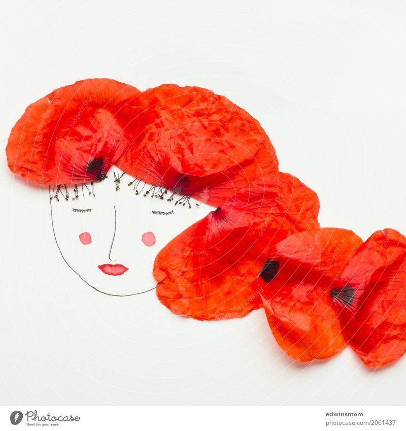 Miss Poppy Leisure and hobbies Handicraft Draw Feminine Nature Plant Blossom Poppy blossom Blossom leave Accessory Red-haired Paper Decoration Illuminate Sleep