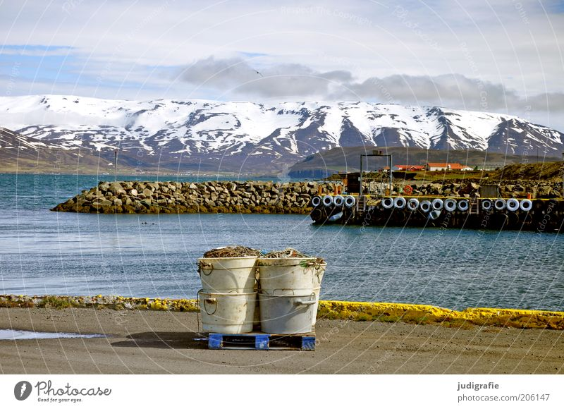 Nature Water Sky Calm Clouds Loneliness Snow Mountain Landscape Moody Environment Ground Climate Harbour Idyll Iceland