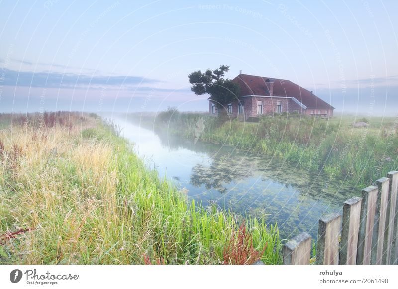 cozy and charming farmhouse by river at sunrise House (Residential Structure) Nature Landscape Sky Sunrise Sunset Summer Fog Meadow Field River Building