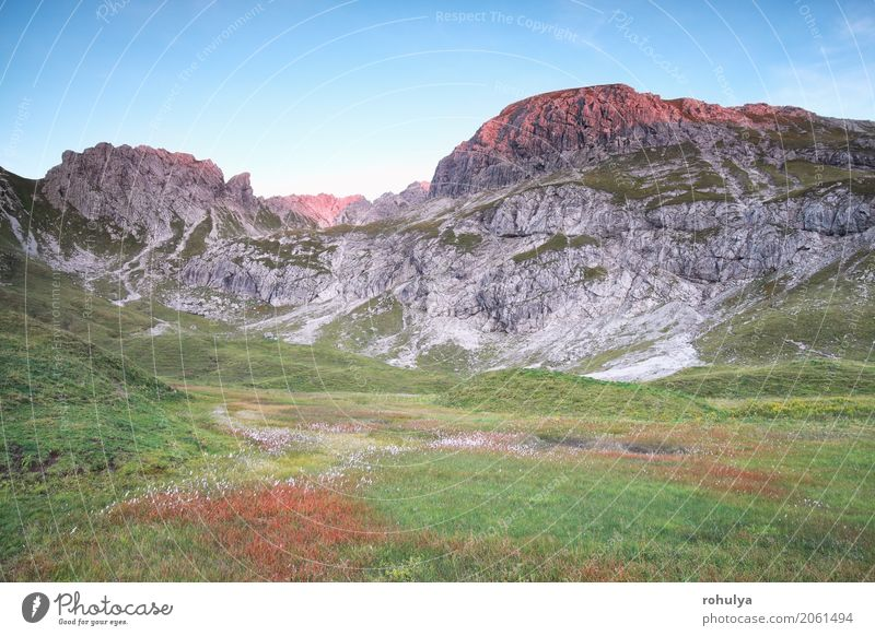 sunset red light on alpine peaks, Bavaria, Germany Vacation & Travel Summer Mountain Nature Landscape Sky Sunrise Sunset Autumn Beautiful weather Meadow Hill