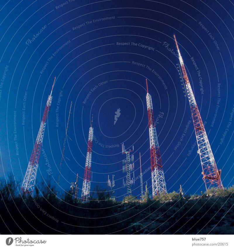 Sky White Blue Red Tall Telecommunications Beautiful weather Antenna
