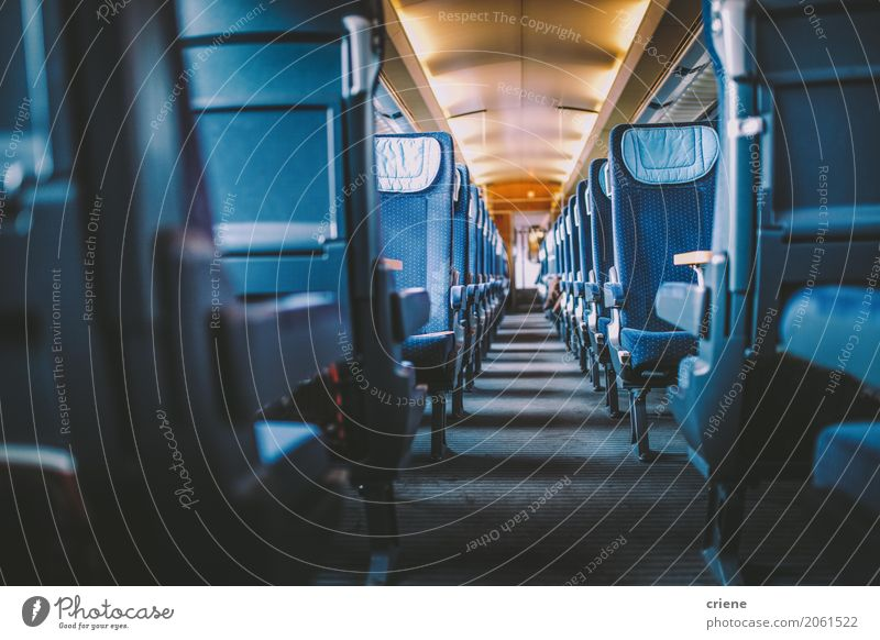 Inside of a empty train Lifestyle Leisure and hobbies Vacation & Travel Tourism Trip Adventure Far-off places Sightseeing City trip Transport Passenger traffic