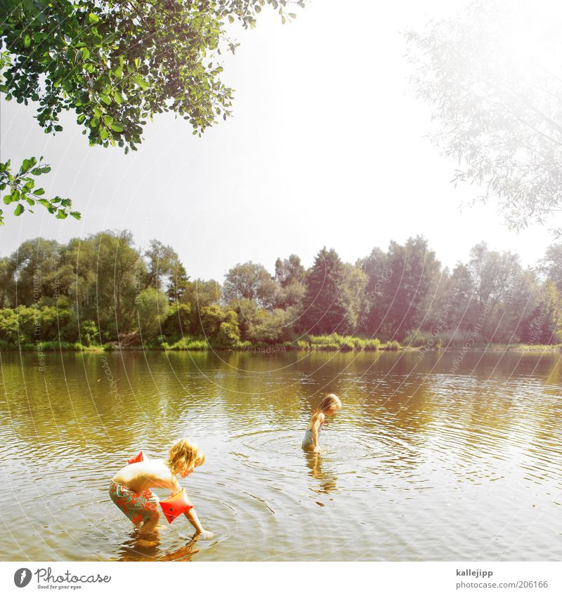 Human being Child Nature Girl Sun Vacation & Travel Summer Joy Relaxation Life Environment Playing Landscape Boy (child) Warmth Lake