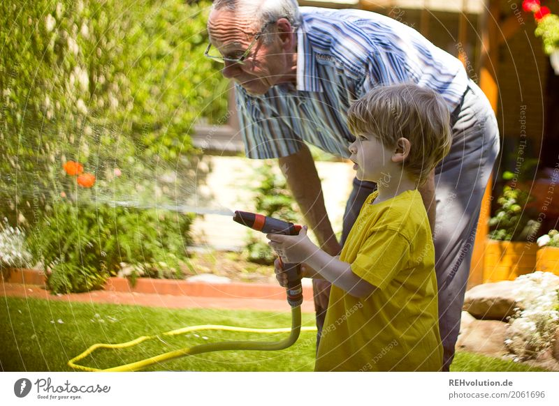Grandpa with grandchild in the garden Human being Masculine Child Toddler Boy (child) Male senior Man Grandfather Family & Relations Infancy Senior citizen Life
