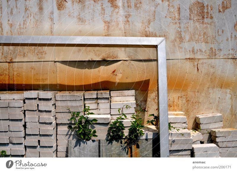 Old Wall (building) Wall (barrier) Stone Brown Concrete Whimsical Goal Frame Silver Stack Pole Aluminium Heap Collateralization Defensive