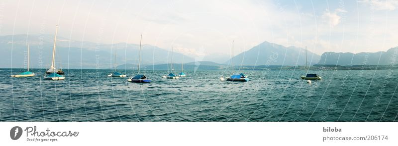 Lake Thun Vacation & Travel Freedom Summer Waves Mountain Nature Landscape Sailboat Sailing ship Watercraft Discover Relaxation Blue Green White Moody
