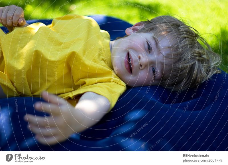 Human being Child Nature Relaxation Calm Joy Face Environment Yellow Meadow Boy (child) Laughter Family & Relations Playing Happy Garden