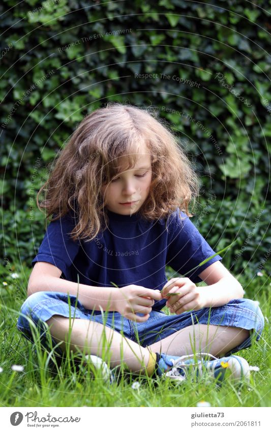 dreamy Child Boy (child) Infancy 1 Human being 8 - 13 years T-shirt Jeans Shorts Long-haired Curl Think Looking Sit Dream Sadness Boredom Reluctance