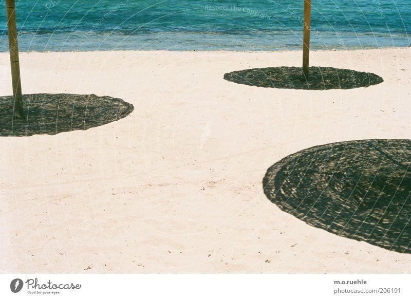 Sun Ocean Vacation & Travel Beach Calm Sand Coast Tourism Circle Beautiful weather Sunshade Umbrellas & Shades Summer vacation Circular Shadow play