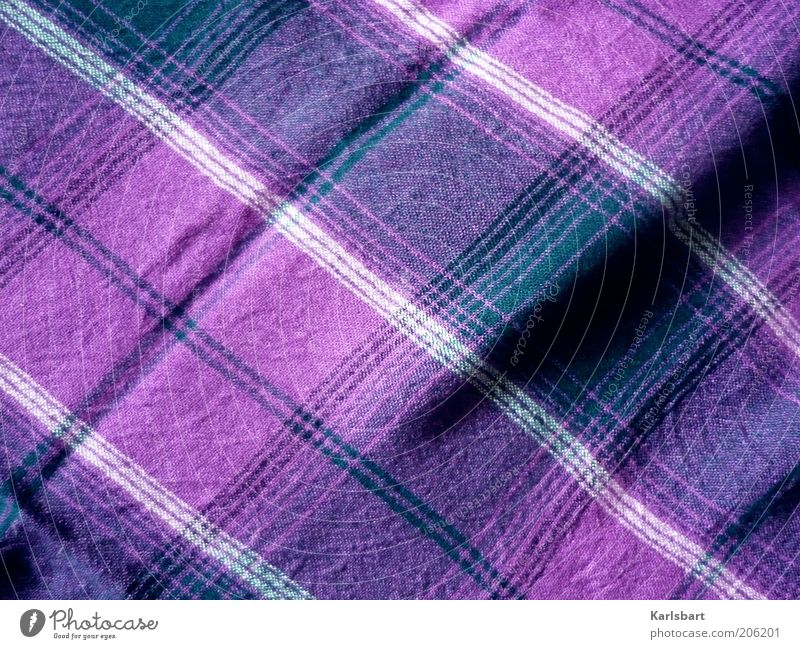 cloth. and fold. Style Fashion Clothing Line Stripe Structures and shapes Checkered Violet Colour photo Multicoloured Interior shot Close-up Detail Abstract