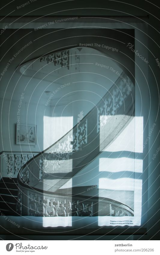 Old Decoration Historic Surrealism Banister Staircase (Hallway) Ornament Old building Delicate Curved Shadow play Shaft of light Winding staircase