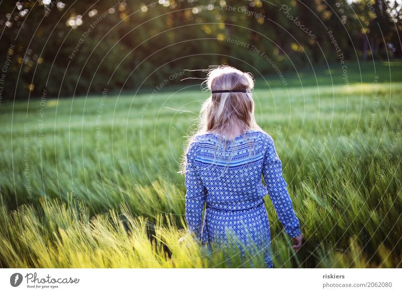 hippie girl Human being Feminine Child Girl Infancy Environment Nature Landscape Spring Summer Beautiful weather Field Discover Relaxation Illuminate Dream