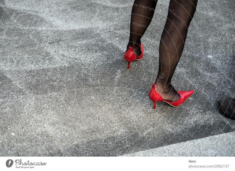 Human being Eroticism Red Life Legs Lanes & trails Feminine Gray Elegant Footwear Stand Beginning Wait Tall Point Concrete