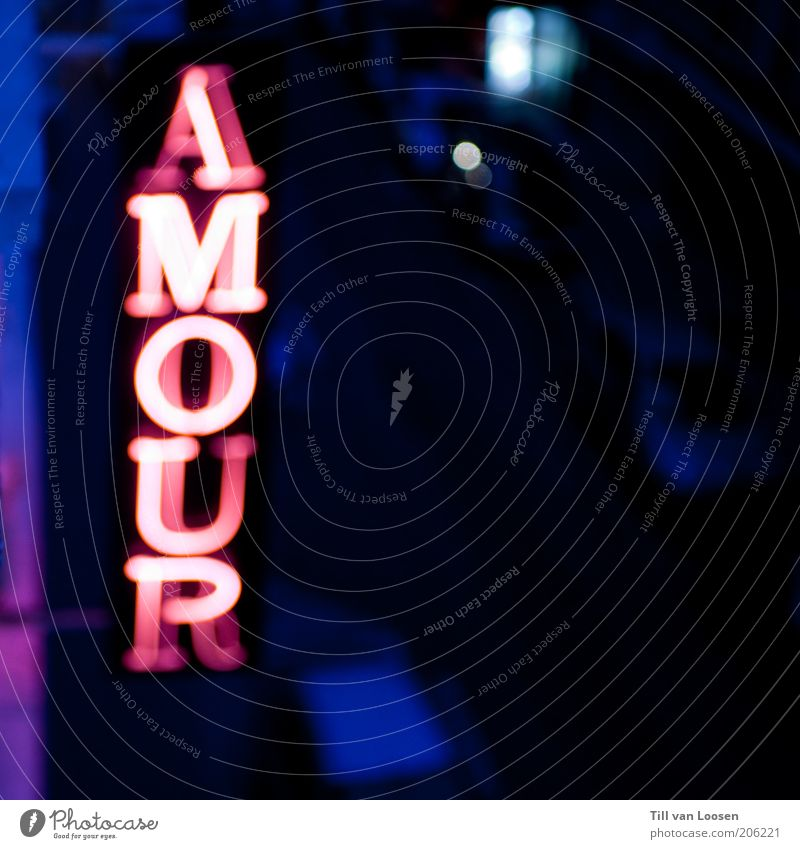AMOUR Night life Entertainment Going out Deserted Characters Signs and labeling Blue Pink Black Services Neon light Colour photo Exterior shot Copy Space right