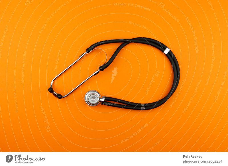 Art Orange Esthetic Creativity Medication Listening Doctor Minimalistic Healing Gaudy Measuring instrument Medical practice Stethoscope Medical technology