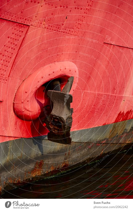 Red bow with anchor Navigation Watercraft Anchor Steel Rust Maritime Bow fix Friesland district Captain East Frisland Hull so much Wilhlemshaven Colour photo