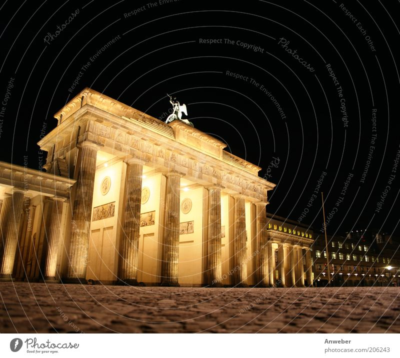 Brandenburg Gate in Berlin at night Downtown Berlin Germany Town Capital city Deserted Manmade structures Building Architecture Tourist Attraction Landmark Sign