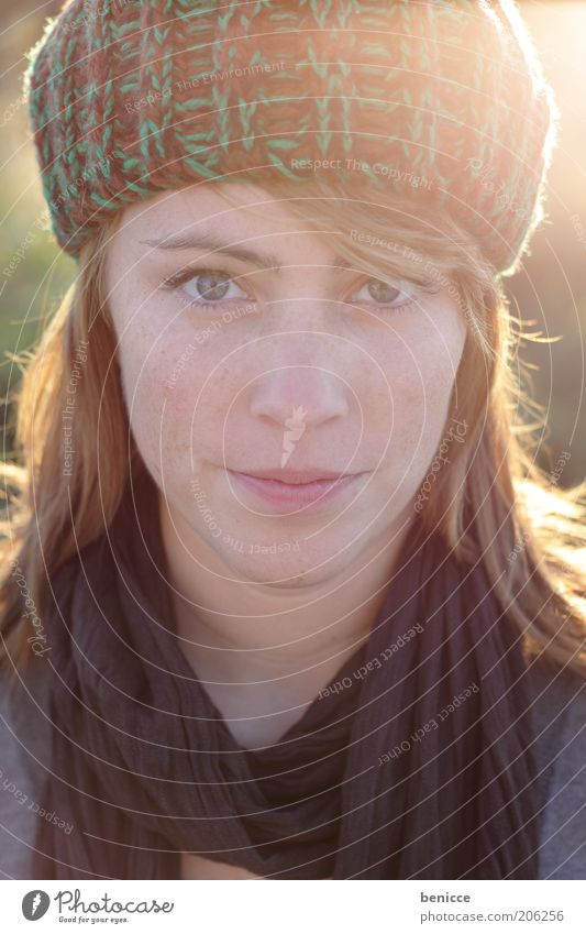 autumn portrait Woman Human being Portrait photograph Autumn Frontal Cap Winter Looking into the camera Attractive Beautiful Nature Natural Self-confident Red