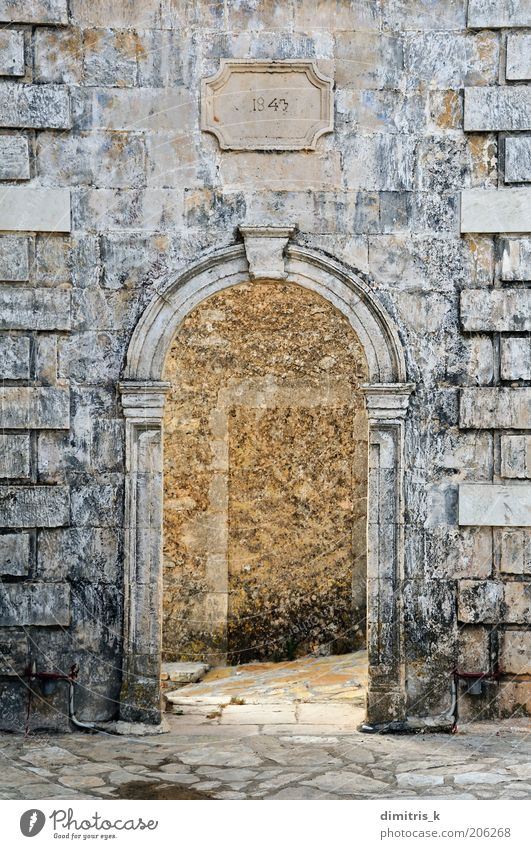 arched stone gate Vacation & Travel Decoration Village Church Ruin Building Architecture Door Monument Stone Old Historic Retro belfry wall marble Zakynthos