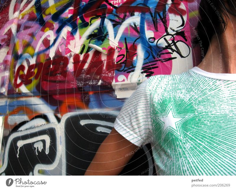 Human being Youth (Young adults) Green Girl Young man Graffiti Wall (building) Life Boy (child) Wall (barrier) Stone Fashion Art Facade Contentment Arm