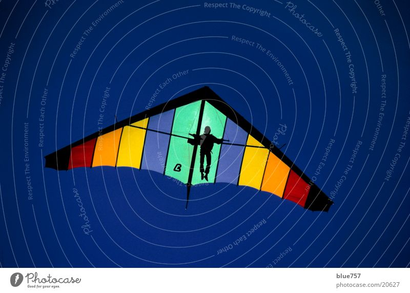 high flyer Hang gliding Multicoloured Man Sports Sky Blue Tall Above Flying Hang glider