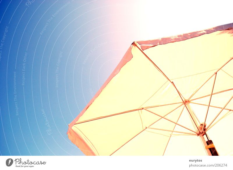 sun protection Metal Sunshade Warmth Summer Summery Sunbeam Colour photo Multicoloured Exterior shot Copy Space left Neutral Background Day Reflection