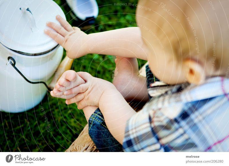 Human being Child Blue Summer Life Boy (child) Grass Garden Happy Small Feet Baby Blonde Sit Infancy Fingers