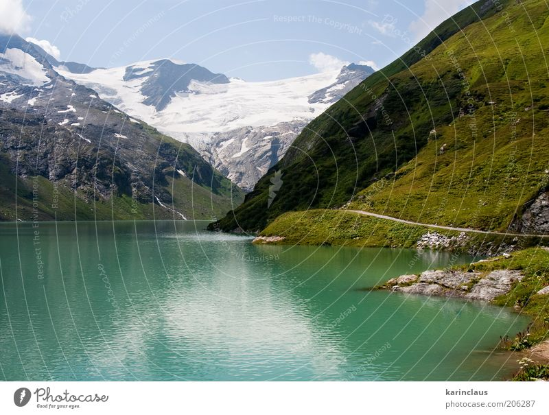 green big mountain lake Beautiful Tourism Summer Snow Mountain Mirror Environment Nature Landscape Sky Clouds Horizon Warmth Grass Hill Glacier Pond Lake River