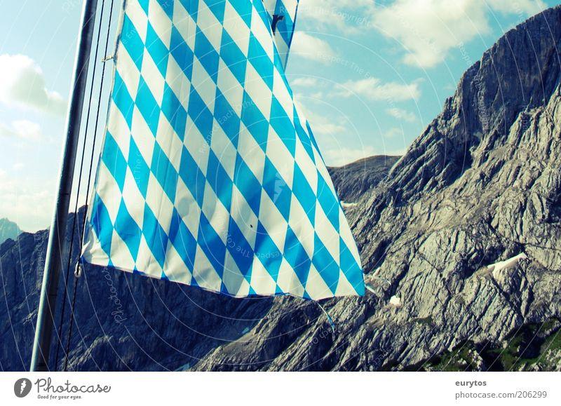 Bavaria of samma mia! Vacation & Travel Tourism Summer Summer vacation Mountain Nature Landscape Rock Alps Peak Blue White Virtuous Calm Culture Flag Flagpole
