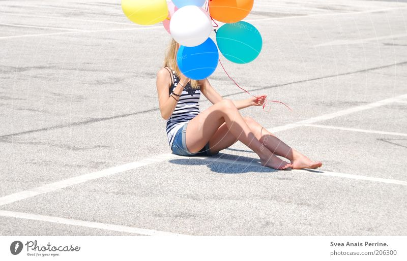air & love. Lifestyle Style Joy Happy Leisure and hobbies Feminine Young woman Youth (Young adults) 1 Human being Parking garage Balloon Concrete To hold on
