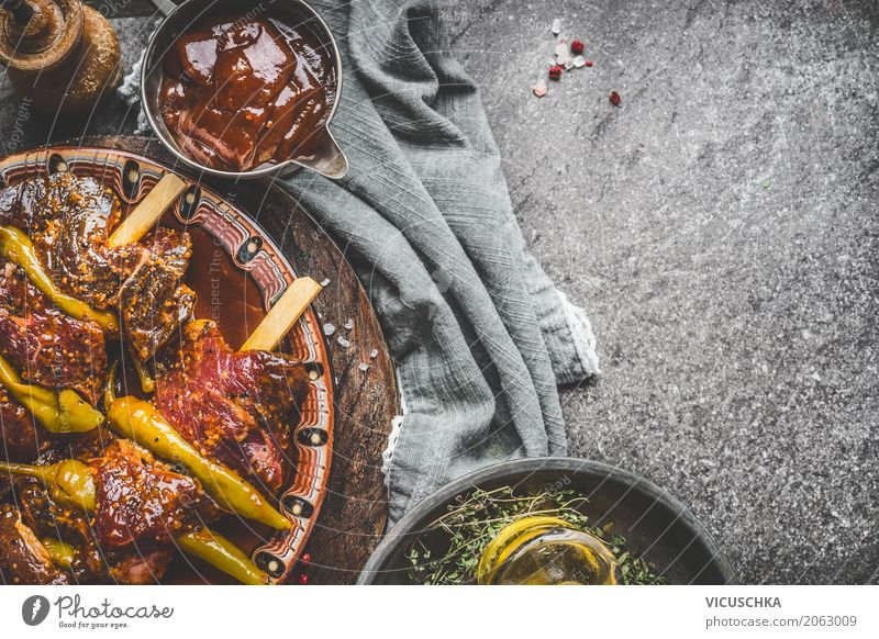 Meat skewers with pepperoni and barbecue sauce Food Nutrition Picnic Organic produce Living or residing Table Design Style Sauce Kebab Chili Barbecue (event)