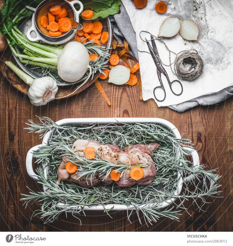 Roast pork with herbs, spices and vegetables Food Meat Vegetable Herbs and spices Nutrition Banquet Organic produce Crockery Style Design Living or residing