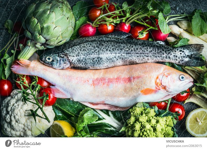 Trout fish with vegetables for healthy cooking Food Fish Vegetable Nutrition Banquet Organic produce Vegetarian diet Diet Style Healthy Healthy Eating Life