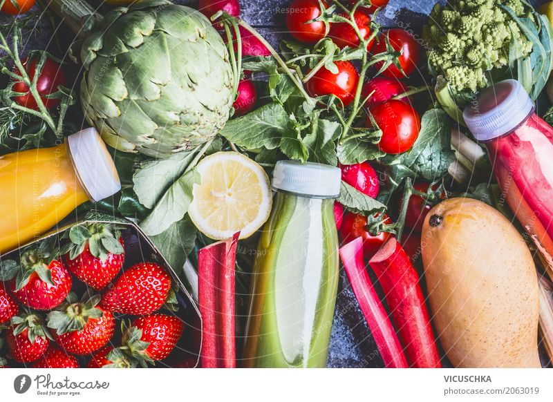Healthy eating and drinking Food Vegetable Fruit Nutrition Organic produce Vegetarian diet Diet Beverage Lemonade Juice Bottle Style Design Healthy Eating