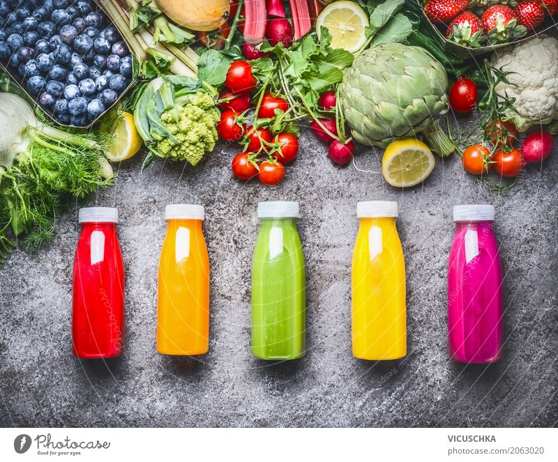 Healthy bottled drinks: smoothies and juices Food Vegetable Fruit Organic produce Vegetarian diet Beverage Cold drink Lemonade Juice Bottle Lifestyle Style