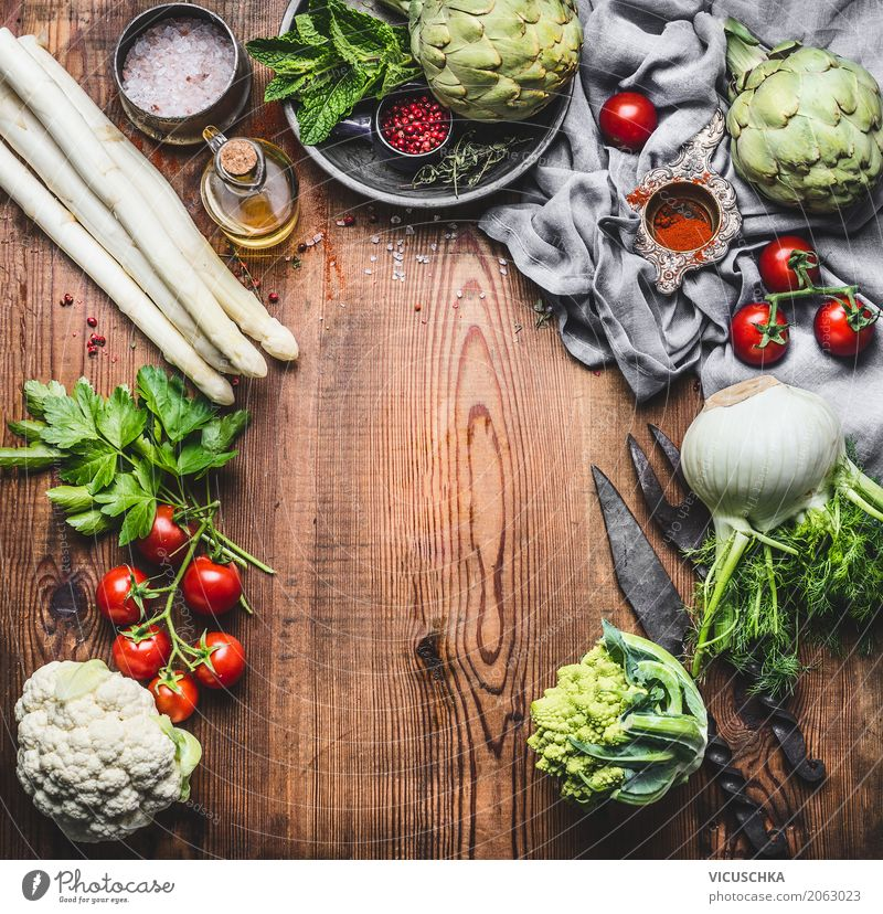 Vegetarian cuisine with asparagus and other organic vegetables Food Vegetable Herbs and spices Nutrition Lunch Organic produce Vegetarian diet Diet Crockery