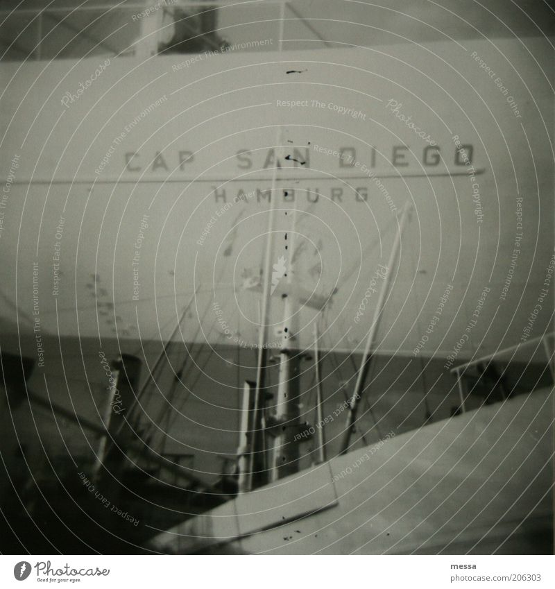 san diego Port of Hamburg cap san diego Deserted Tourist Attraction Navigation Harbour Emotions Calm Black & white photo Exterior shot Lomography Day Bow Hull