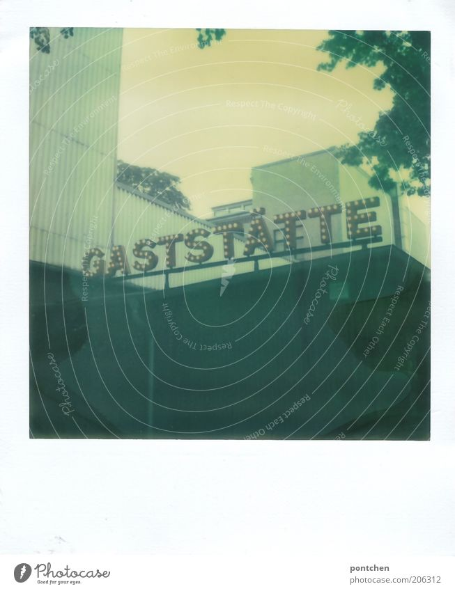 Polaroid shows a building with the lettering Gaststätte. restaurant, catering Nutrition Leisure and hobbies Tourism Summer Restaurant Gastronomy Nature Sky