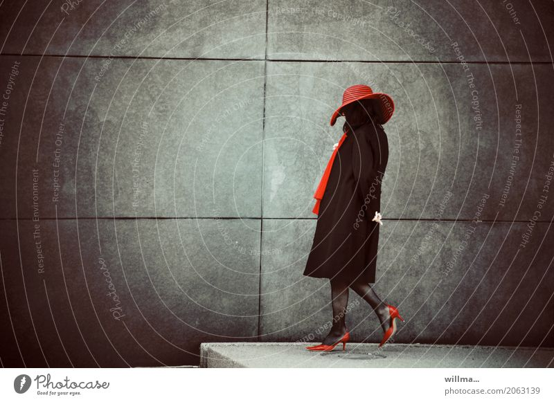 The lady with the red hat Lady Woman Elegant Style Human being Feminine Adults Life High heels Scarf Hat Red Black Wall (building) Madame Evening Full-length