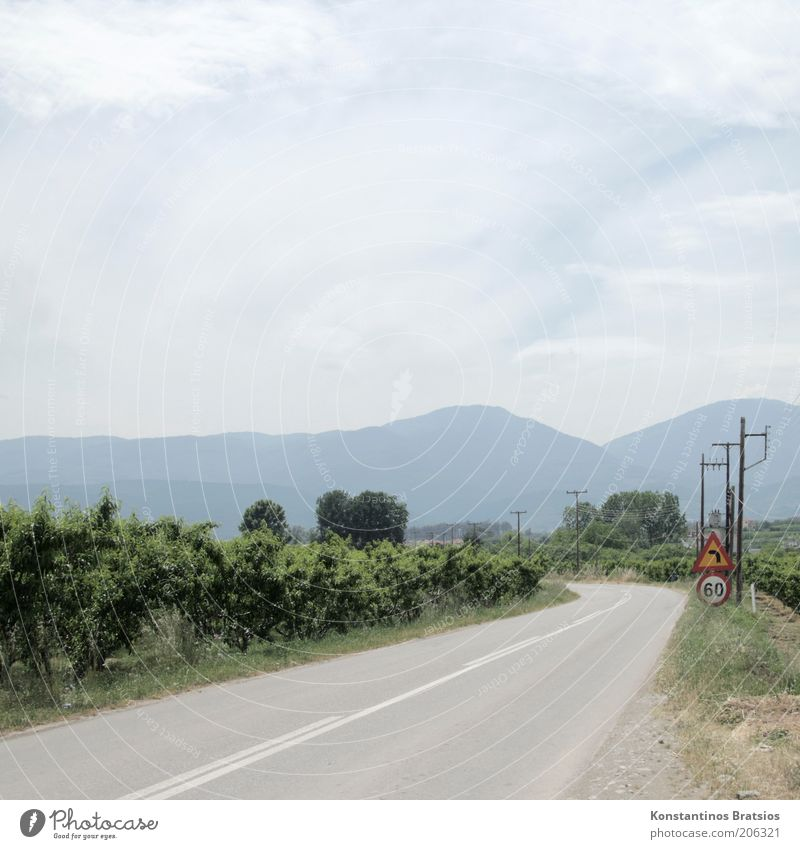 No Particular Place to Go Vacation & Travel Trip Electricity pylon Sky Clouds Summer Beautiful weather Plant Bushes Mountain Greece Traffic infrastructure