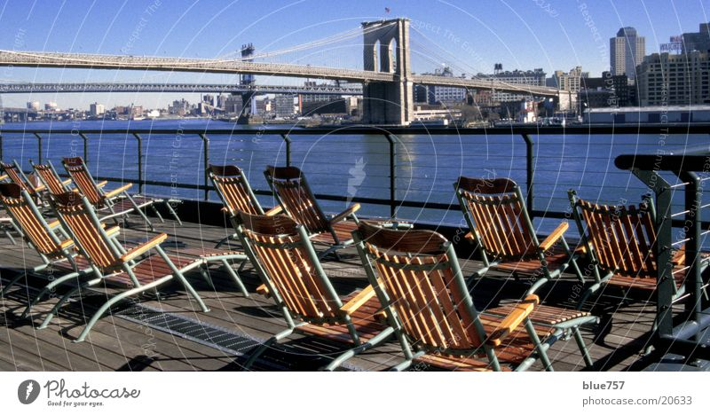 Beautiful view Deckchair East River Brooklyn Bridge Manhattan Bridge New York City Vantage point Skyline pier 17