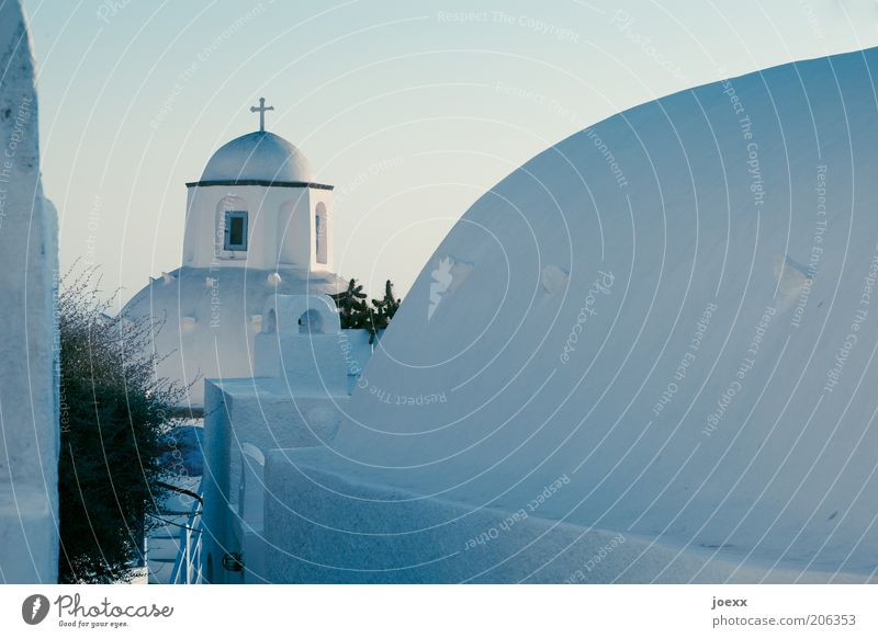 Faith and hope Deserted House (Residential Structure) Church Building Wall (barrier) Wall (building) Roof Old Blue Romance Calm Hope Belief Esthetic Domed roof
