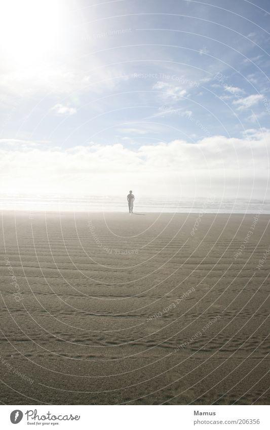 Human being Sky Man Water Sun Ocean Summer Beach Clouds Adults Far-off places Freedom Sand Coast Waves Horizon
