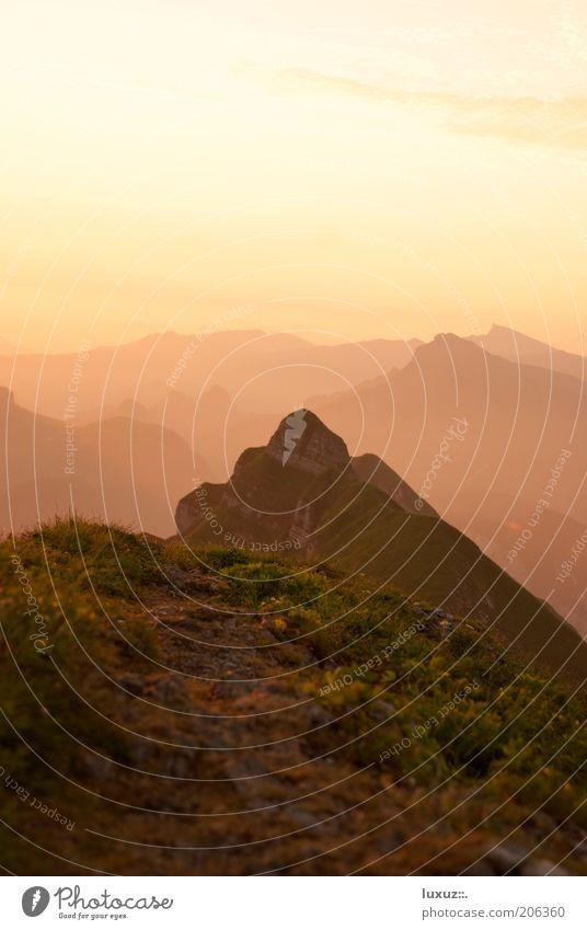 awake Calm Landscape Peak Illuminate Infinity Comforting Mountain Horizon Break Lanes & trails Target Morning Far-off places Copy Space top Air Recreation area