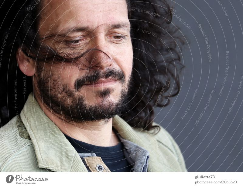 Human being Man Adults Life Emotions Natural Hair and hairstyles Gray Moody Dream Masculine Contentment Meditative 45 - 60 years Hope Facial hair
