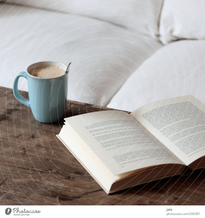 Blue White Calm Relaxation Brown Leisure and hobbies Flat (apartment) Book Table Beverage Coffee Living or residing Sofa Cup To enjoy Cozy